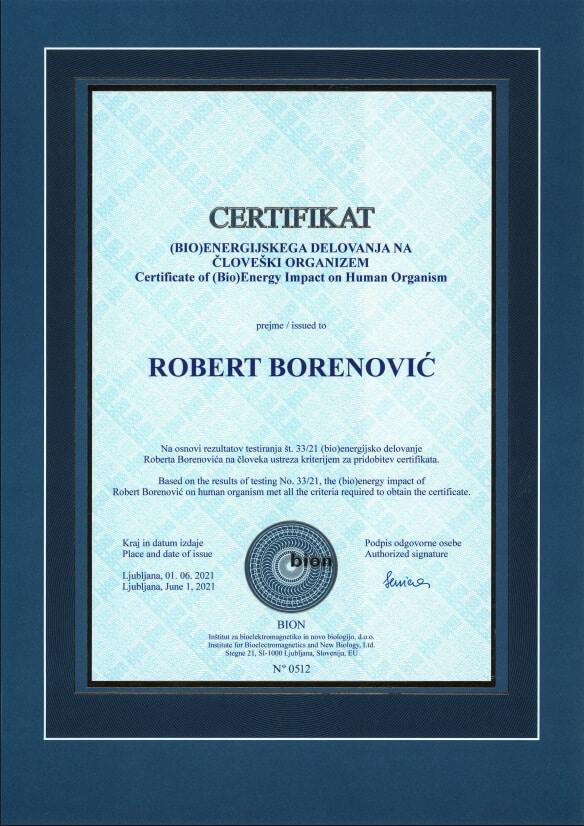 Certifikat BIOENERGIJSKEGA DELOVANJA